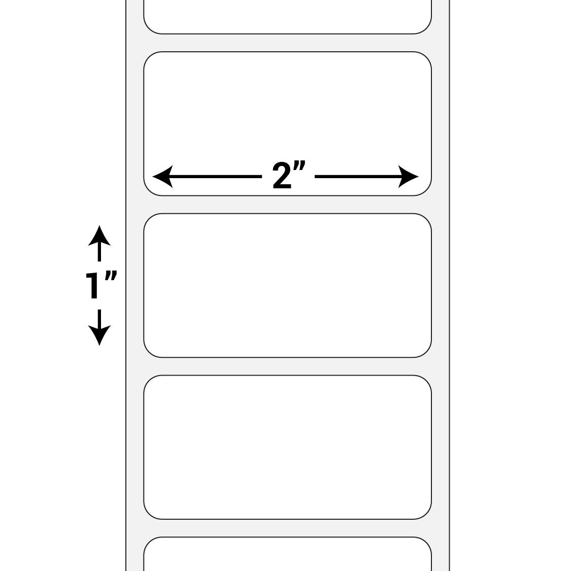 2 x 1 high gloss paper inkjet labels 4600 labels roll bgr